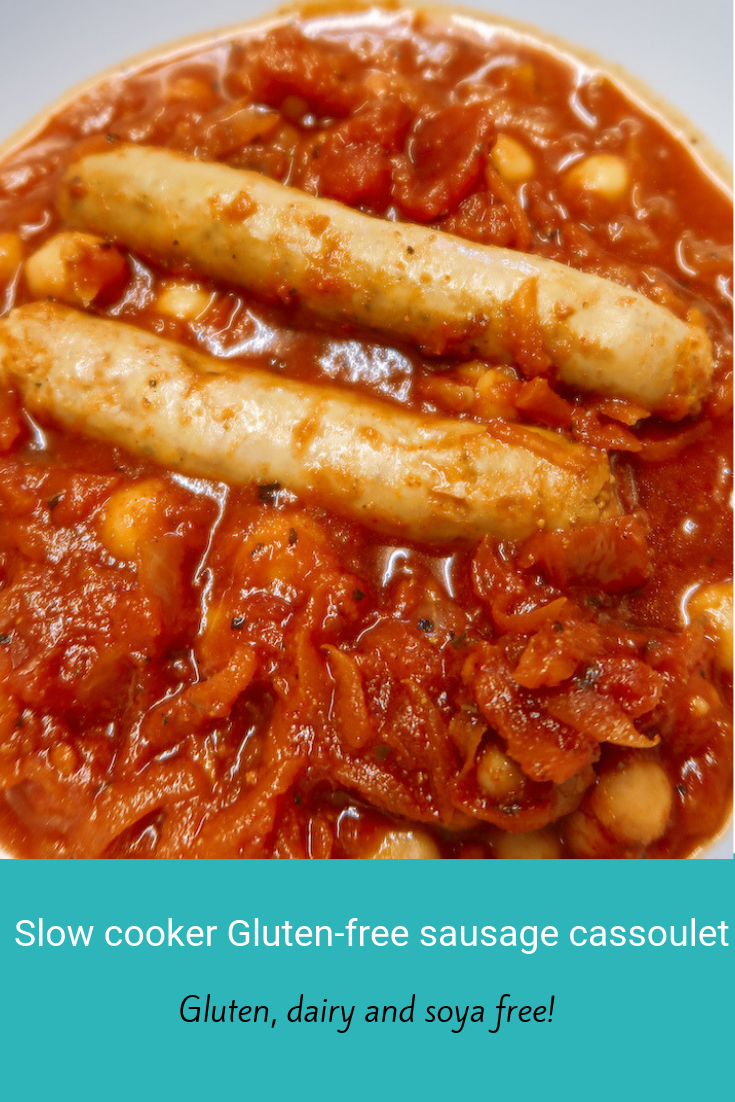 A gluten free dairy free soya free slow cooker sausage cassoulet that takes just minutes to prepare. #allergyfreeday #allergyfriendly #glutenfree #dairyfree #soyafree