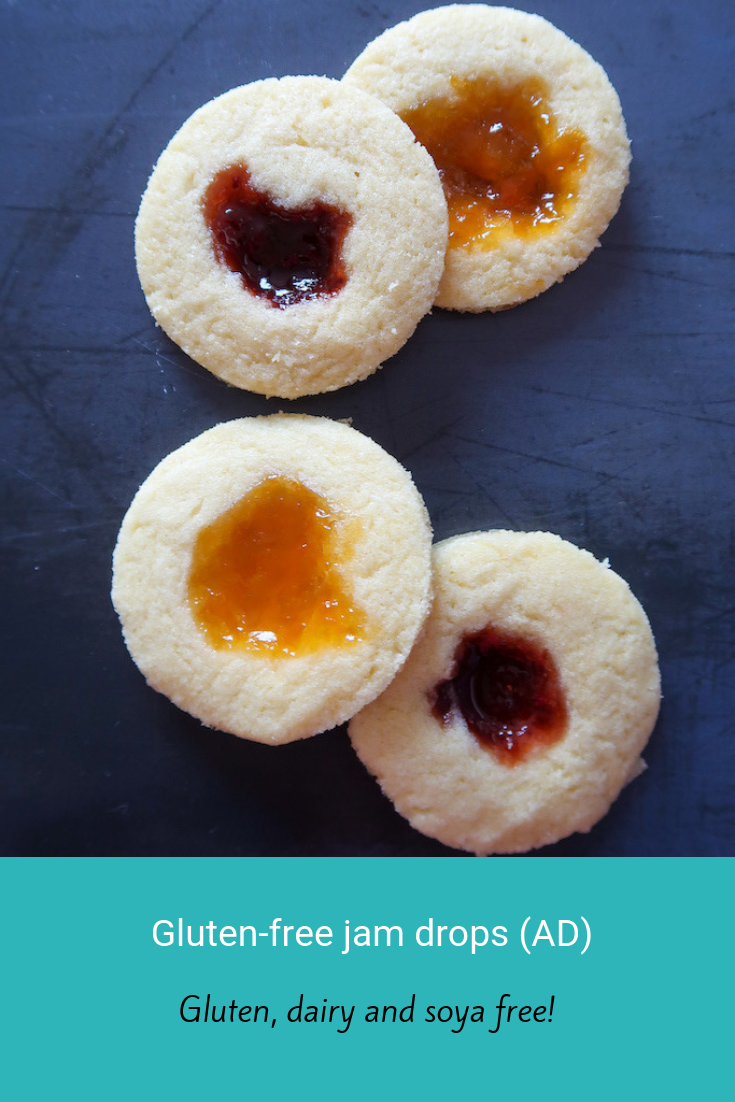 Gluten-free jam drops (AD). These are simple to make and frugal too. #allergyfreeday #allergyfriendly #glutenfree #dairyfree #soyafree #frugal #cheapeats