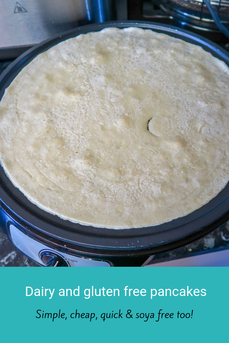 Dairy and gluten-free pancakes. These are simple to make, cheap and are soya free too. #allergyfreeday #allergyfriendly #glutenfree #dairyfree #soyafree #frugal #cheapeats #allergyfree